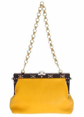 Nuevo Dolce & Gabbana Bolso Vanda Cuero Amarillo Cristal Fiesta de Noche