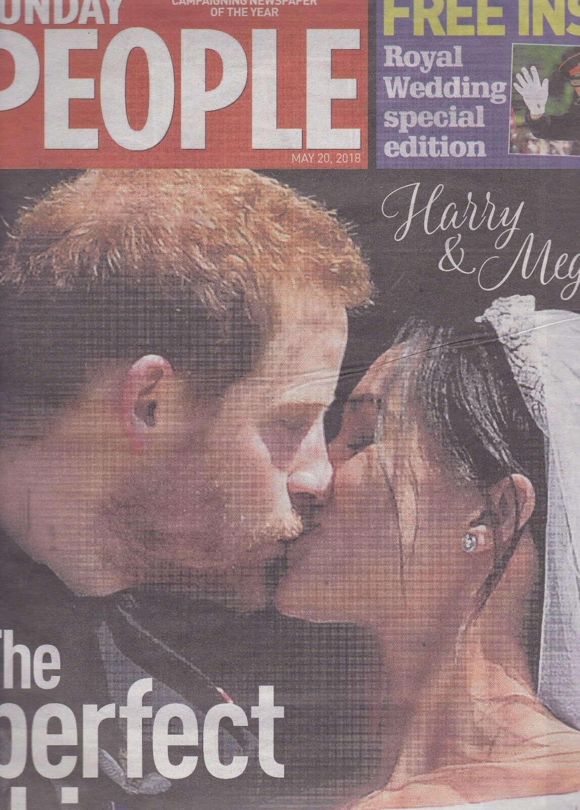 HRH Prince Harry and Megan  The Sunday People Royal Wedding Newspaper May 20 2018