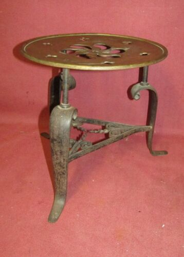 Large Antique American Brass  and  Wrought Iron Fireplace Trivet or Footman