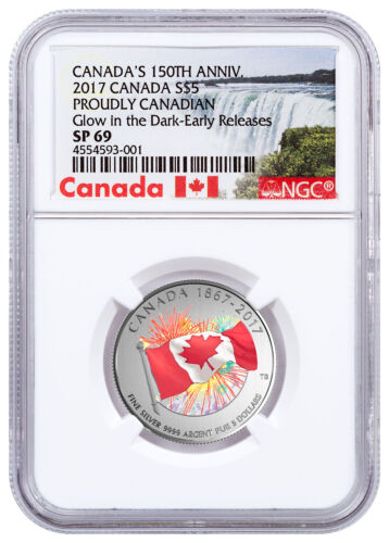 2017 Canada Proudly Glow in the Dark 1/4 oz Silver Specimen NGC SP69 ER SKU47346