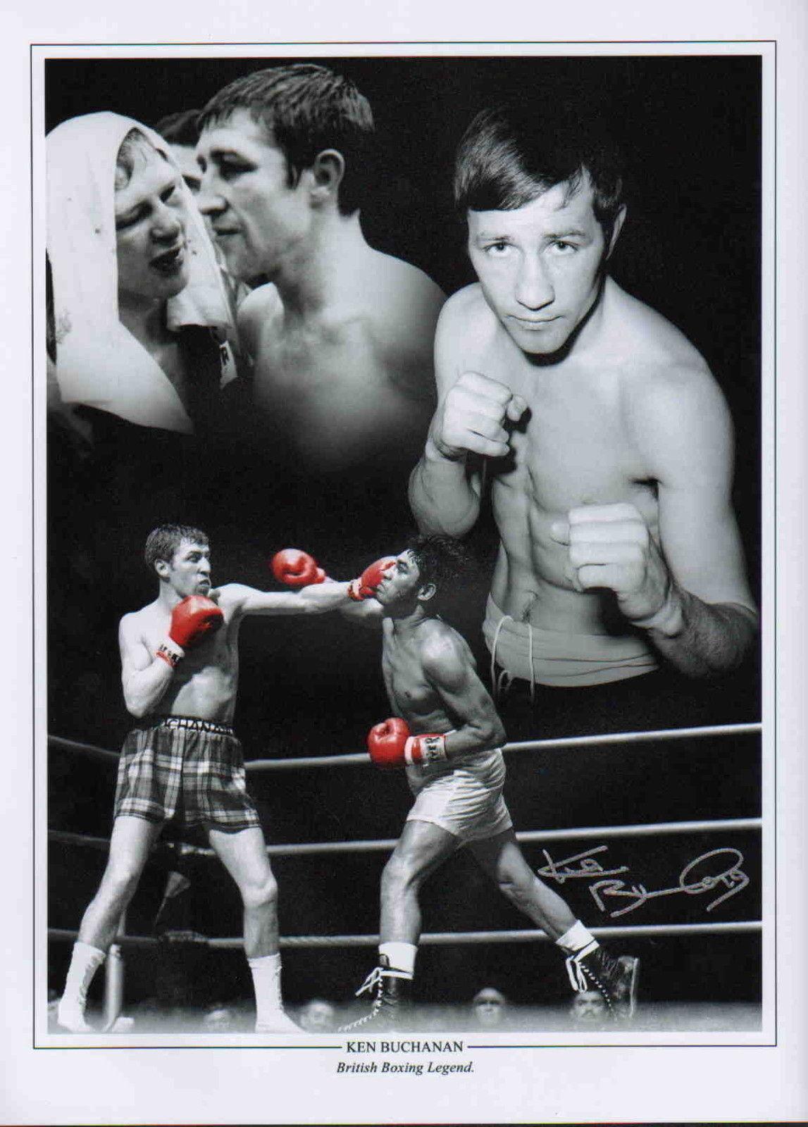 New Ken Buchanan  Hand Signed Portrait Black Boxing Glove