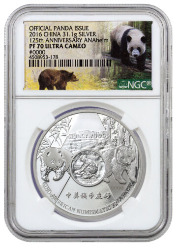 2016 China 1 oz Proof Silver Panda Anaheim ANA Show NGC PF70 UC SKU42299