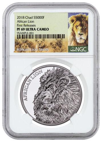 2018 Republic of Chad African Lion 1 oz Silver 5000F NGC PF69 UC FR SKU52893