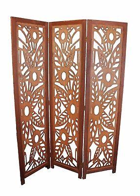 Divider Screen Floral Room Divider (3 Panel Wood Screen Room Divider, Walnut Brown With Decorative Floral)