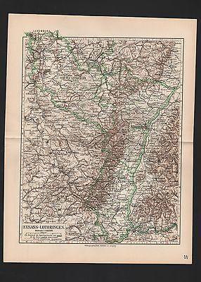 Landkarte map 1912: ELSASS-LOTHRINGEN. Strassbourg Metz Mühlhausen Münster