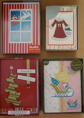 NEW 4 boxes of Christmas Cards All unique Elegant Whimsical Hand Crafted ()