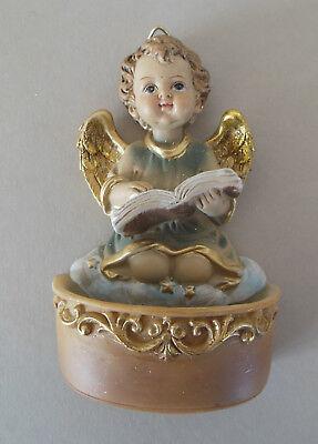 Weihwasserkessel Engel mit Buch Weihwasser Taufgeschenk Polystone bemalt SH B