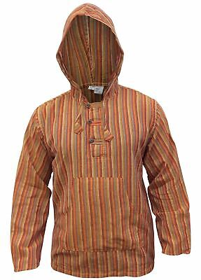 Mens Striped Hooded Grandad Shirt Light Weight Cotton Hippie Shirt Cotton Hippie Shirt