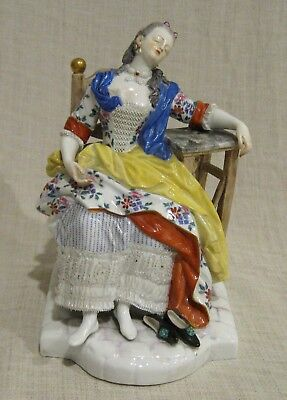 Meissen Sleeping Woman Sleeping in Chair in Red, Blue and Yellow Dress