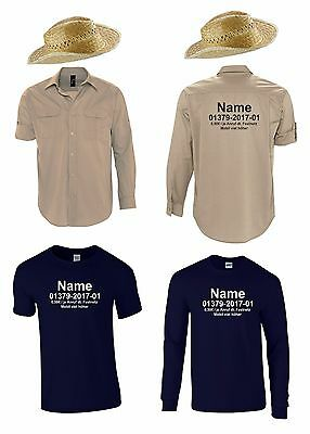 Herren T-Shirt+Hut oder Hemd mit Ihrem Namen Kostüm für Dschungelcamp (Dschungel Kostüme)