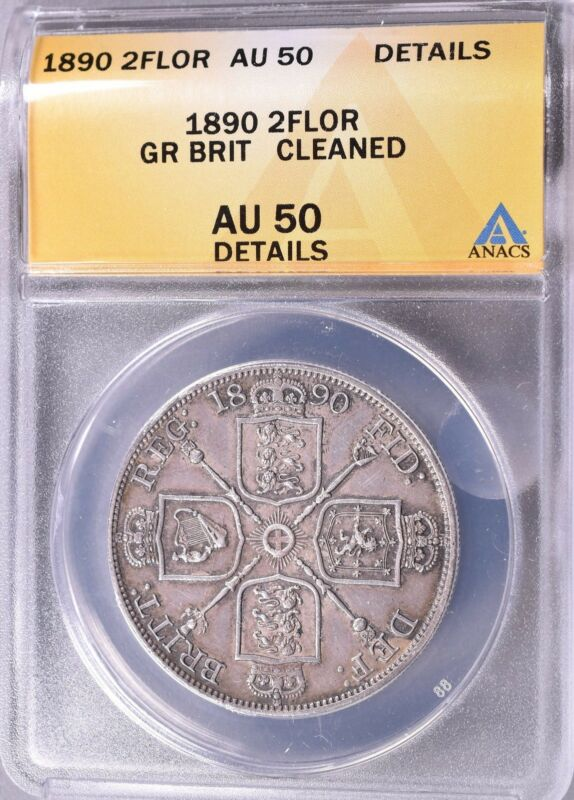 1890  Great Britain Double 2 Florin   Silver   ANACS  AU50   *U915