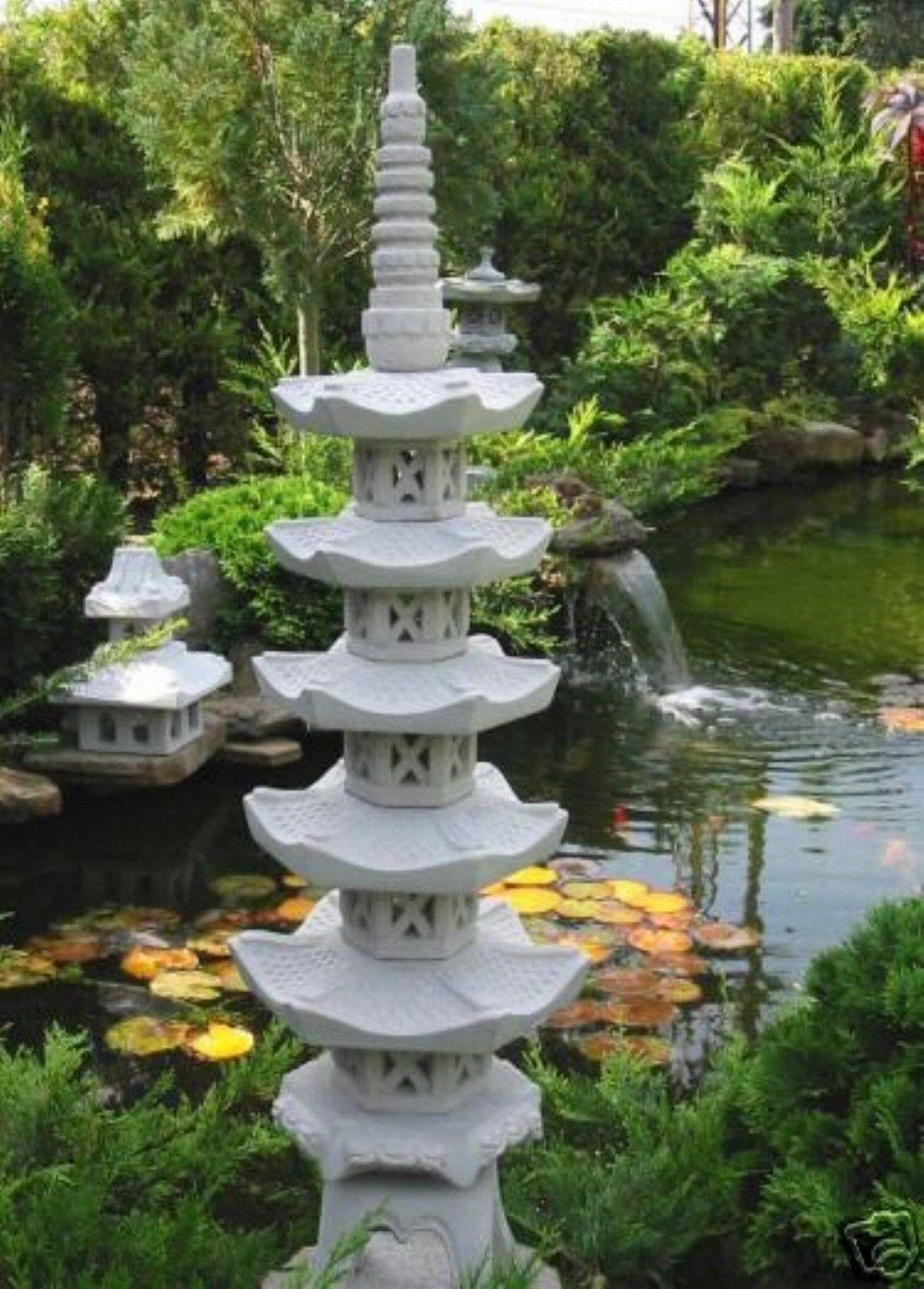 japanische Steinlaterne Pagode 2 stöckig 70 cm Gartenteich Figur Wetterfest