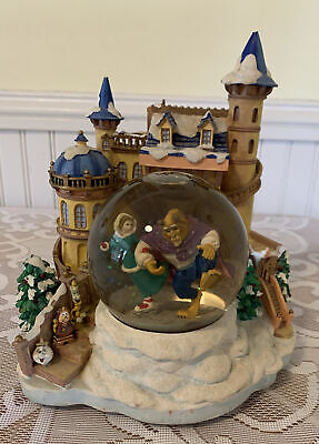 * AS IS * DISNEY BEAUTY & THE BEAST ICE SKATING CASTLE MUSICAL SNOW GLOBE