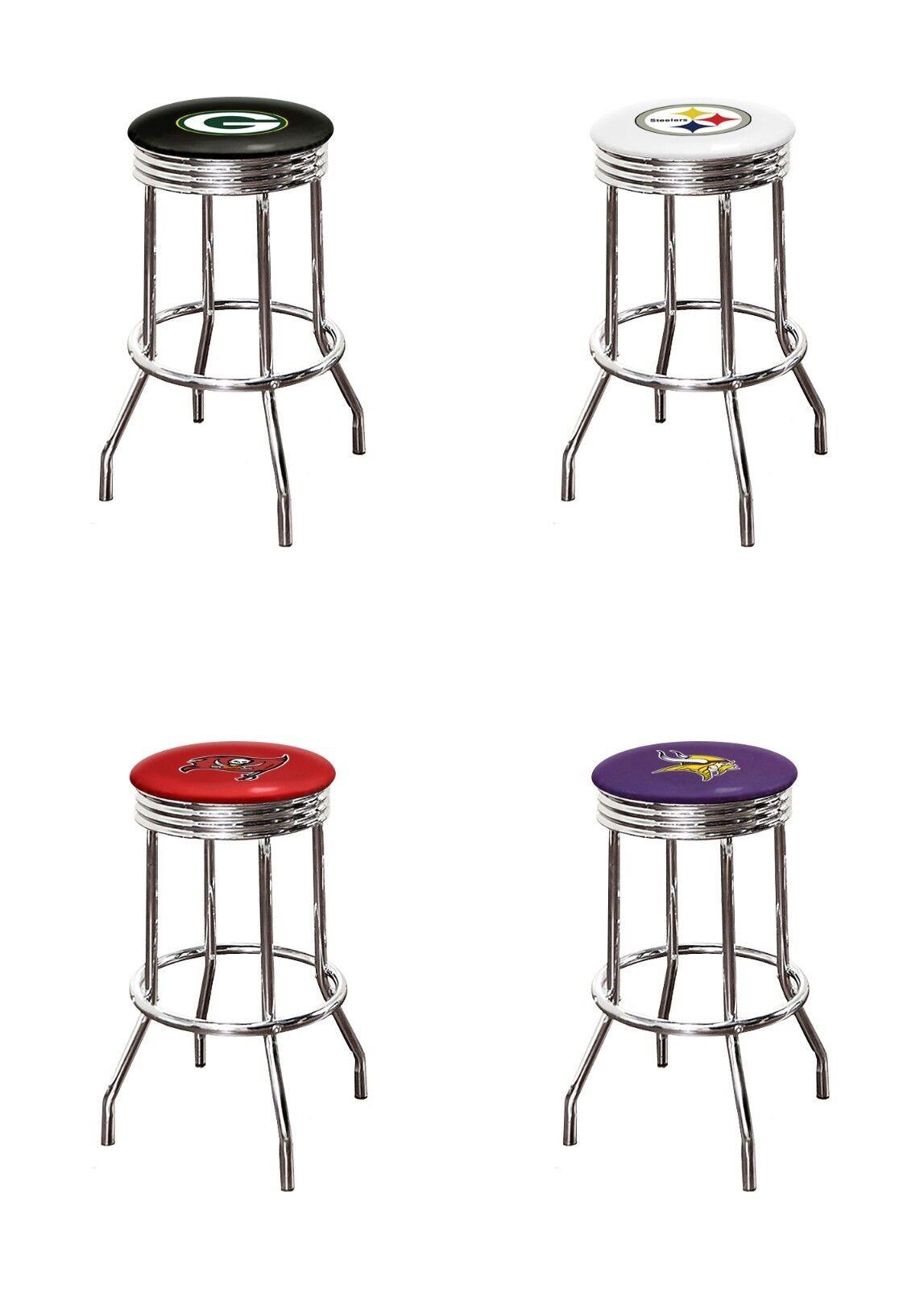 bar stool 24 tall nfl logo chrome