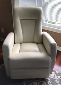 Cream/White rocking & swivel leather recliner