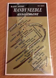 7pc Sewing Needles Repair Kit Upholstery Carpet Leather Curved Canvas UK SELLER