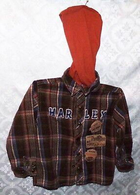 Harley Davidson Hooded Flannel Shirt Child Toddler 4T Motorcycle Biker HD Bike