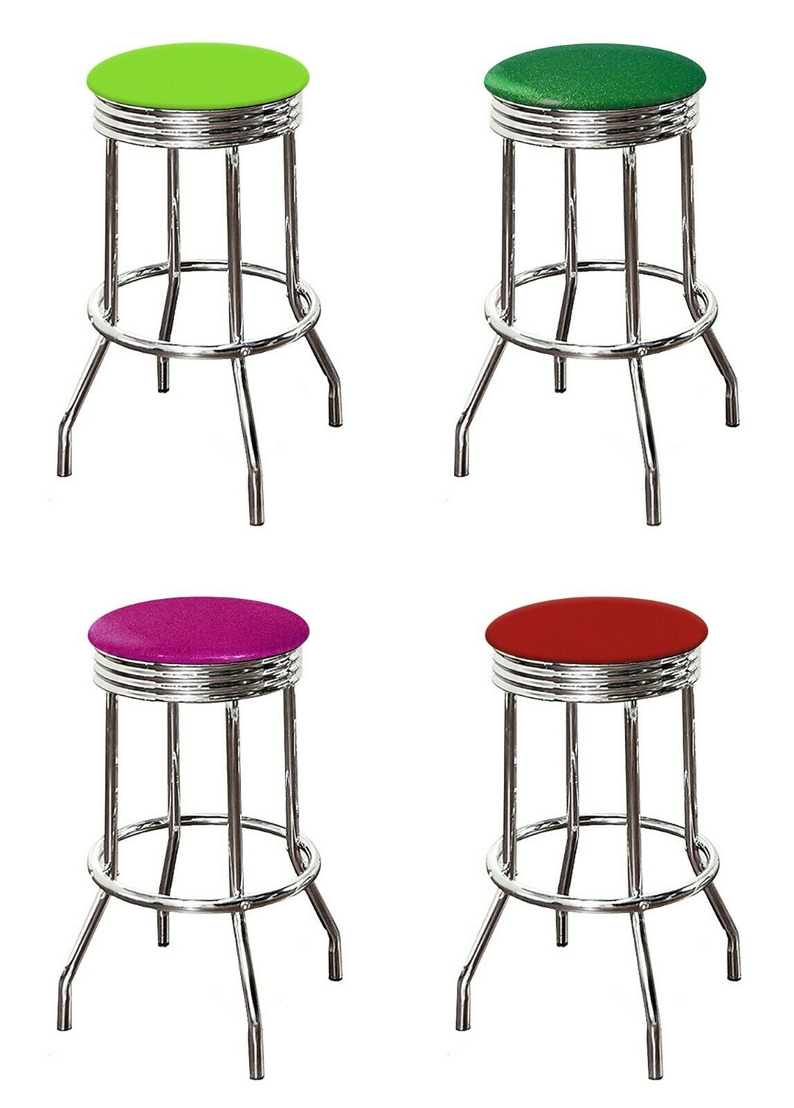 """29"""" Tall Chrome Retro Style Barstool Backless Colored Vinyl"""