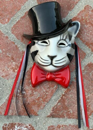 vtg Ceramic Pottery Cat Head/Face Wall Hanging signed 1980s top hat art mask red