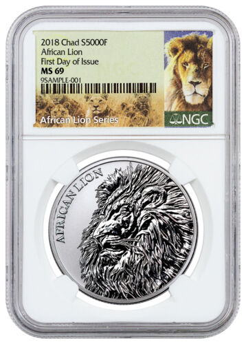 2018 Republic of Chad African Lion 1 oz Silver 5,000F Coin NGC MS69 FDI SKU51649
