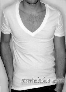 Deep-V-Neck-T-Shirt-Men-s-T-SHIRT-S-M-L-XL-XXL-Available-in-black-or-white