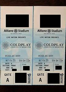 2 COLDPLAY GOLD FRONT STANDING GA TICKETS SYDNEY ALLIANZ STADIUM Mawson Woden Valley Preview