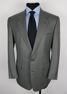 BRIONI Augusto Super 150's Wool 2 Btn SUIT_Italy_Gray w/Blue Stripes_Size 41R