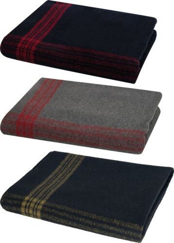 """Military Wool Blanket 62"""" x 80"""" with Stripes For Camping Survival Emergency"""