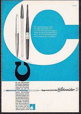 3w925/ Alte Reklame - von 1961 - SCHNEIDER Stifte