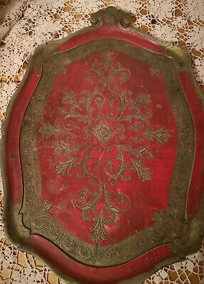 ANTIQUE ORIENTAL? TRAY-WOODEN?-RED/GOLD-INTRICATE DESIGN-SHABBY CHIC-23