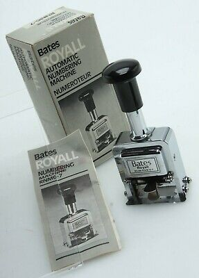 Bates Royall Rnm6-7 Automatic Numbering Machine Ink Stamp Ib Winstr 389898