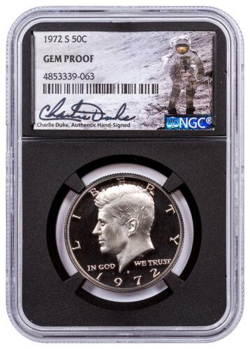 1972-S Clad Kennedy Half Dollar NGC GEM Proof Blk Charlie Duke Signed SKU55329