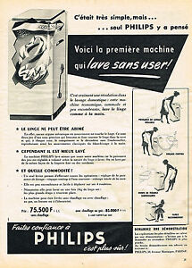 publicite advertising 064 1955 philips lave linge machine. Black Bedroom Furniture Sets. Home Design Ideas