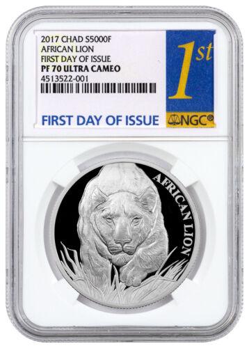 2017 Republic of Chad African Lion - 1 oz Silver 5000F NGC PF70 UC FDI SKU43973
