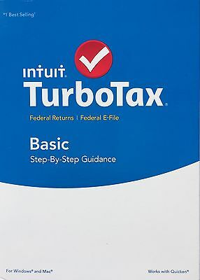 2015 Intuit TurboTax Basic Federal + E-File BRAND NEW FACTORY SEALED!!!