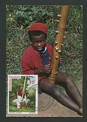 MALAGASY MK 1965 MUSIKINSTRUMENTE MAXIMUMKARTE CARTE MAXIMUM CARD MC CM c9583