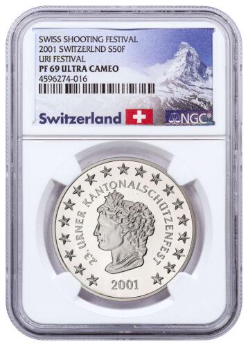 2001 Switzerland Shooting Festival Thaler - Uri Silver 50F NGC PF69 UC SKU48962