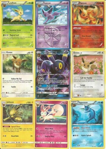 Pokemon Tcg - 9 Card  Eevee Evolution Set - Nm/m