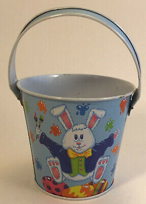 Tin Basket - Easter Bunny Coloring Eggs - Metal Sand Pail Bucket Rabbit Litho