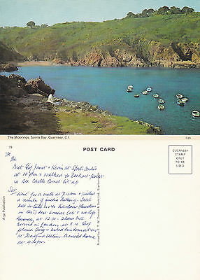 1980's THE MOORINGS SAINTS BAY GUERNSEY CHANNEL ISLANDS UNUSED COLOUR POSTCARD