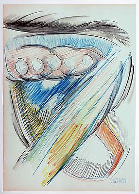 Aquarell Salz (Jakob Salzmann *1942: Abstraktion Blau Rot Gelb Im Aufstieg Farbstift + Aquarell)