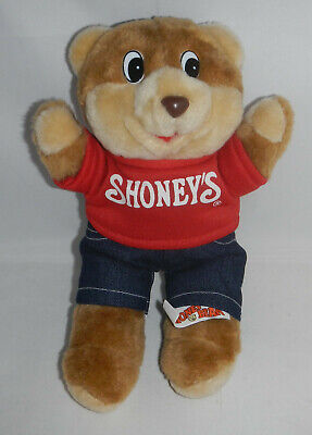 """Vintage 1989 Shoney's Restaurant Shoney Bear 10"""" Plush Stuffed Animal Toy Mascot"""