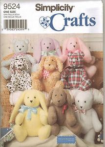 From-UK-Sewing-Pattern-Stuffed-Toys-Rabbit-Dog-Bear-9524