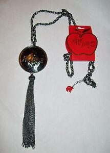 NWT-Apple-Bottoms-Gunmetal-Iron-Cross-Logo-Disc-Tassel-Necklace