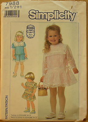 Simplicity Pattern 7988 Size 1/2+1, Wonderful Party or Flower Girl Dress - UNCUT