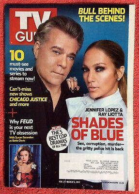 TV GUIDE MAGAZINE FEBRUARY MARCH 2017 SHADES OF BLUE JENNIFER LOPEZ RAY LIOTTA (Jennifer Lopez Sunglasses 2017)