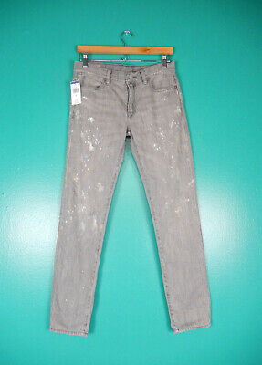 POLO RALPH LAUREN OUTLET ASTOR GRAY SLIM BOYFRIEND PAINT JEANS NWT 26