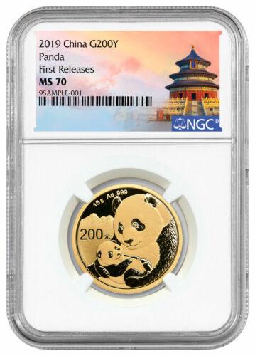 2019 China 15 g Gold Panda ¥200 Coin NGC MS70 FR Temple Label SKU56048