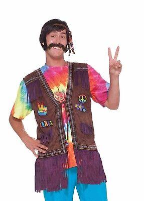 Adult 60s 70s Hippie Peace Vest Groovy Go-Go Costume - Mens Hippie Vest
