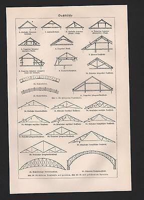 Lithografie 1925: DACHSTÜHLE. DACHDECKUNG UND DECKE. Handwerk Dachstuhl Fetten